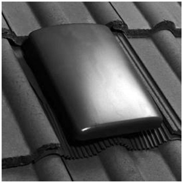View. Pitched roof tile slate vent grey   with 150mm to 100mm ducting