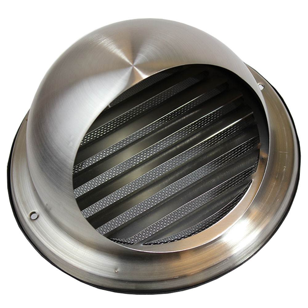 Kair Bull-Nose External Vent 125mm - 5 inch Stainless Steel Grille with Louvres - Fly Screen and Drip Deflector