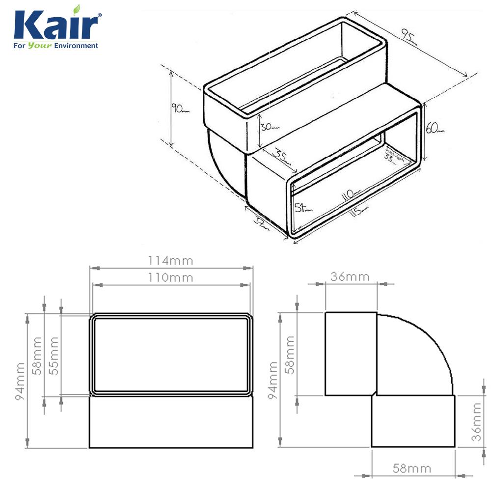 Kair System 100 Rectangular 90 Degree Vertical Bend Flat