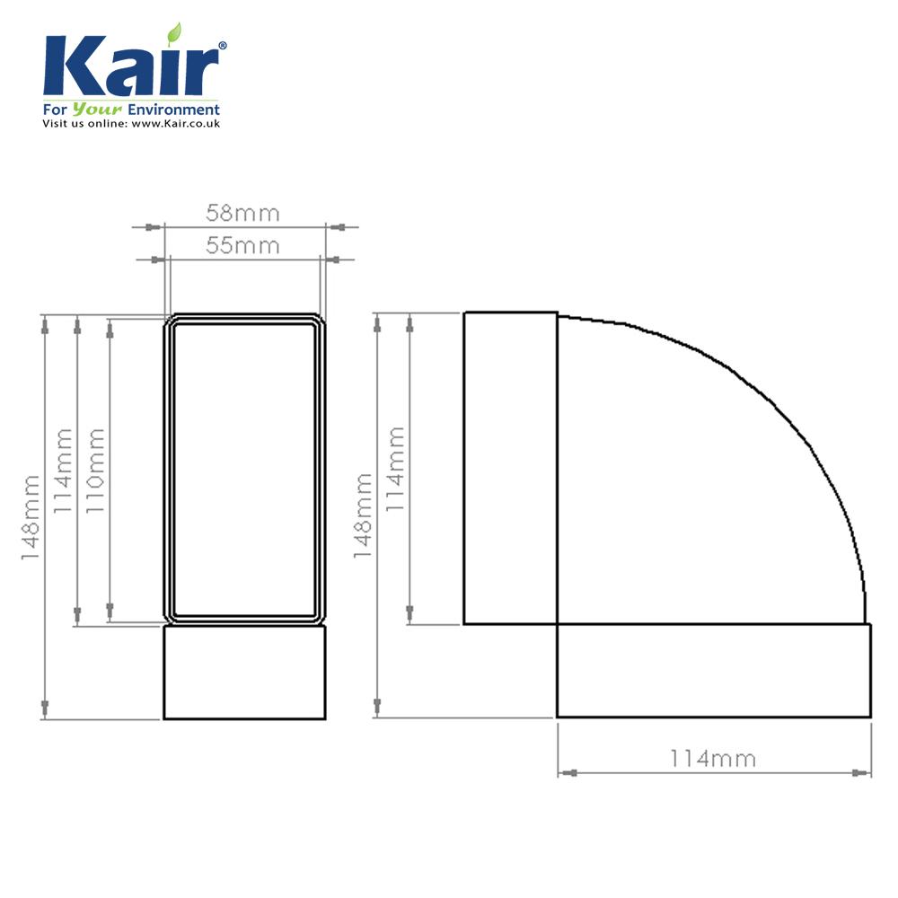 Kair System 100 Rectangular 90 Degree Horizontal Bend