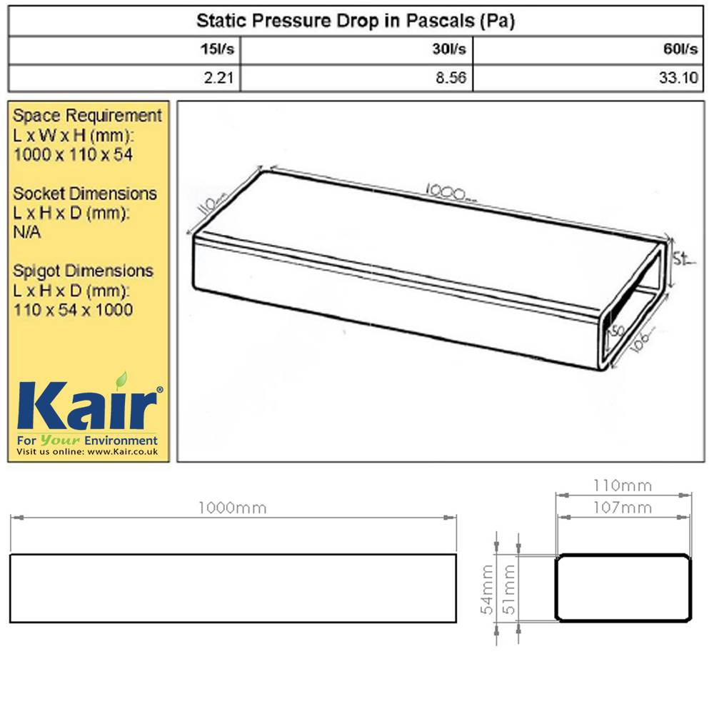 Kair System 100 Flat Channel Ducting 1 Metre Length 110mm X 54mm Rectangular Duct Booster Fan Wiring Diagram View