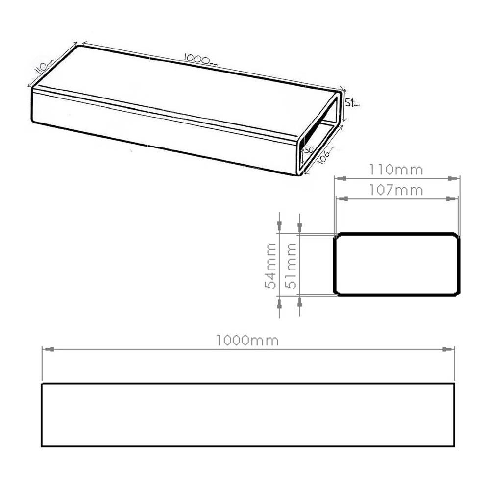 Kair System 100 Flat Channel Ducting 1 Metre Length 110mm X 54mm Rectangular Duct Booster Fan Wiring Diagram 4x2 White Plastic