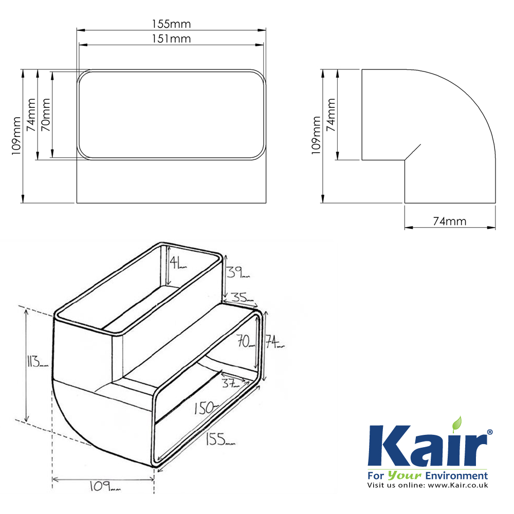 kair system 125 - 90 degree vertical bend - flat duct