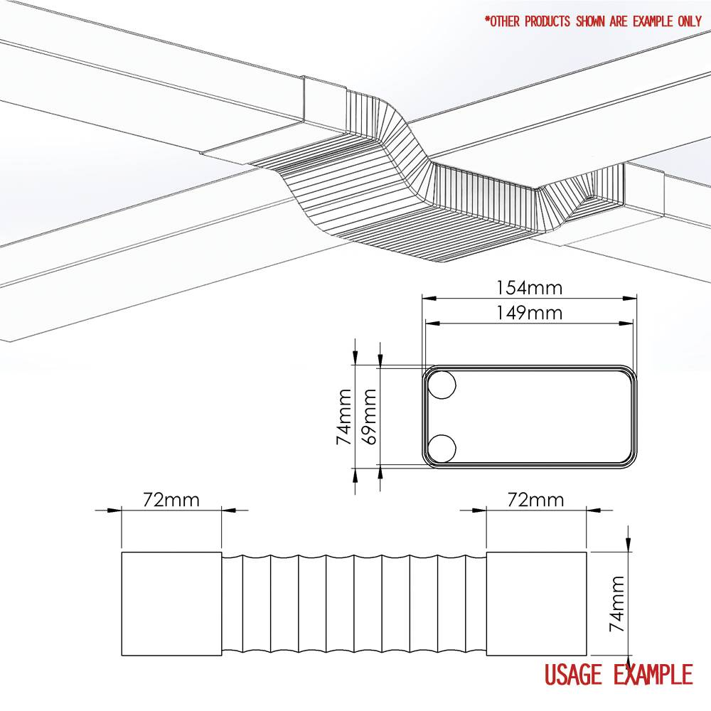 Ducvkc627 System 125 Rectangular Flexible Bend Ducting Duct Booster Fan Wiring Diagram 150mm X 70mm