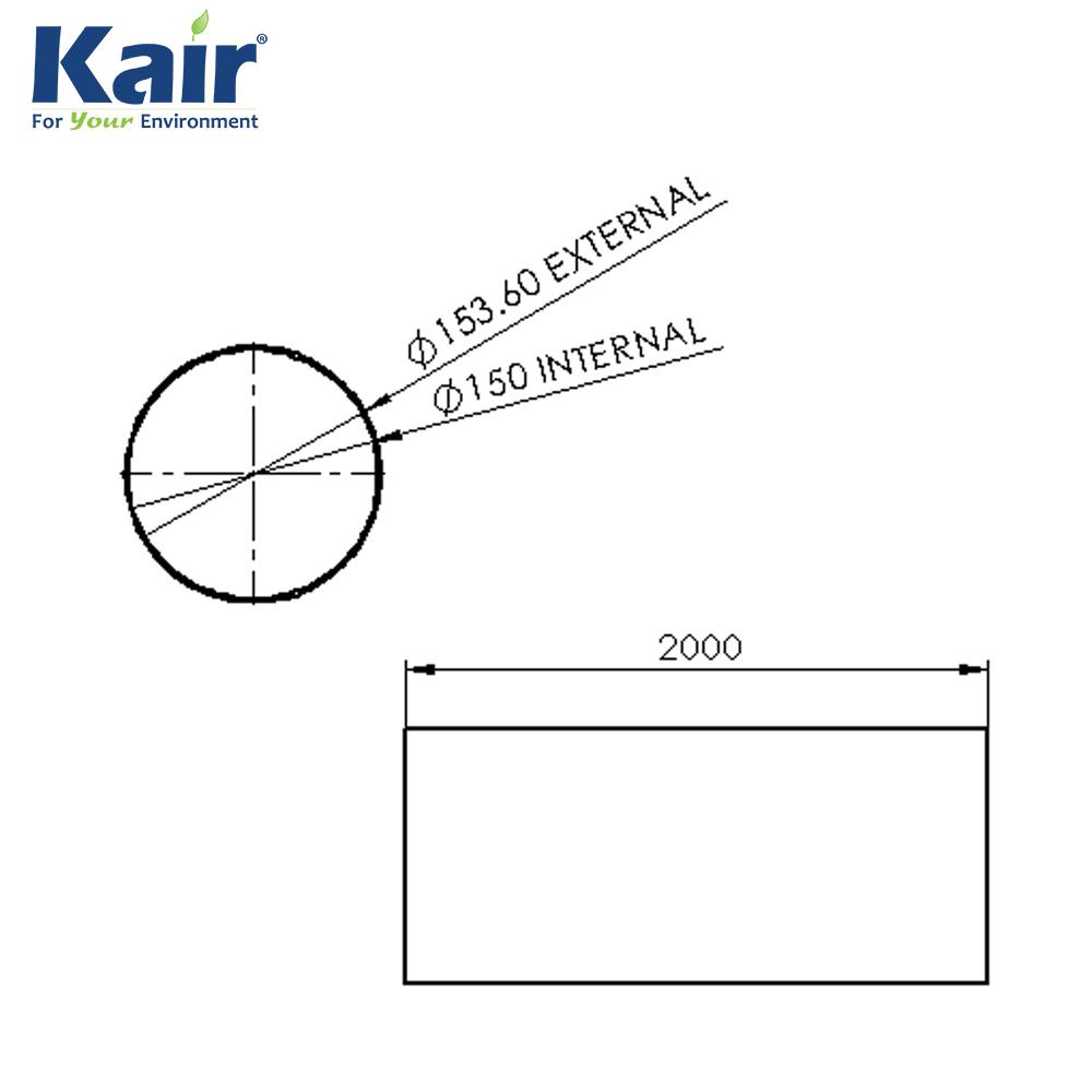 kair system 150 round pipe 2 metre - 150mm diameter