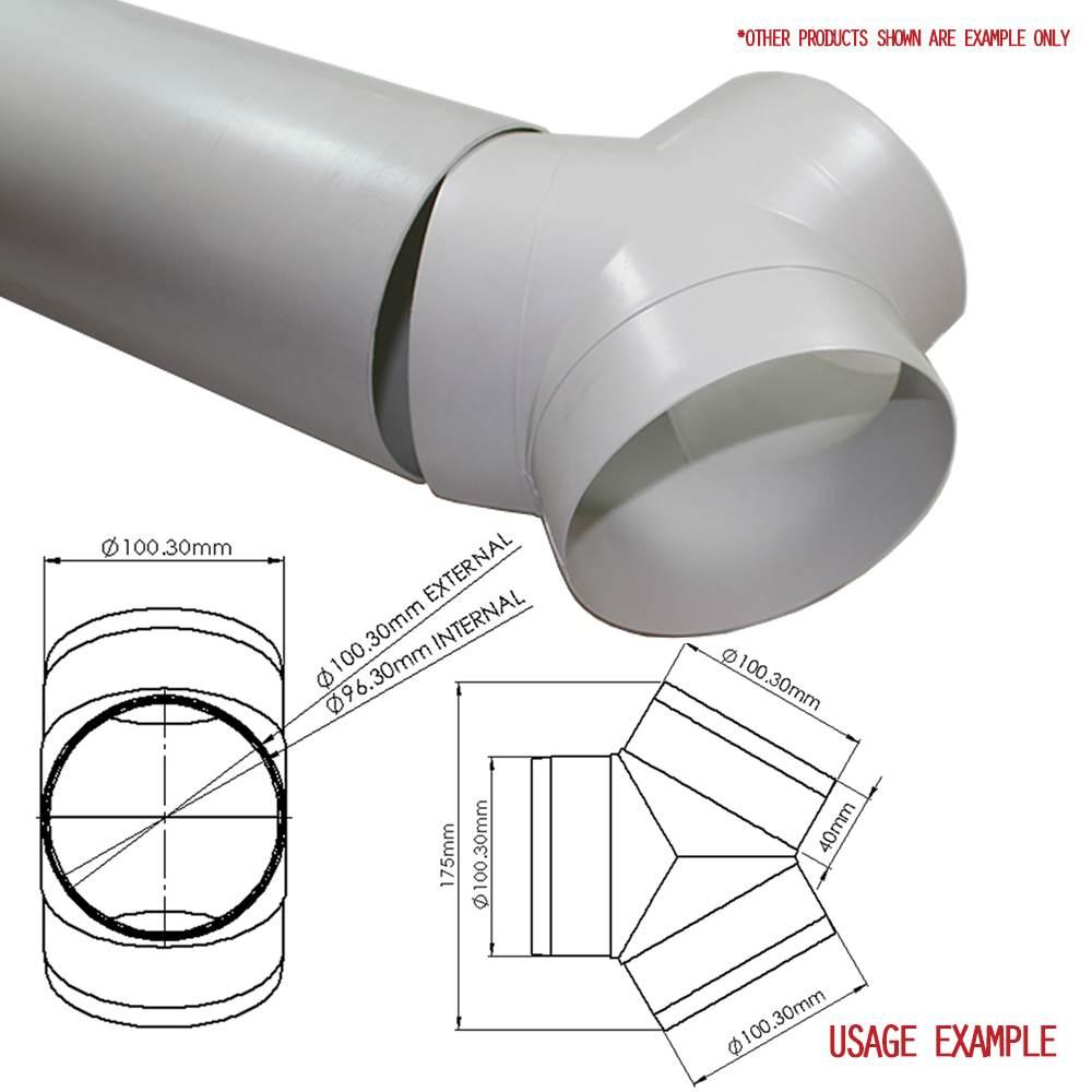 ducvkc3400 - system 100 round equal 100mm y-piece / splitter