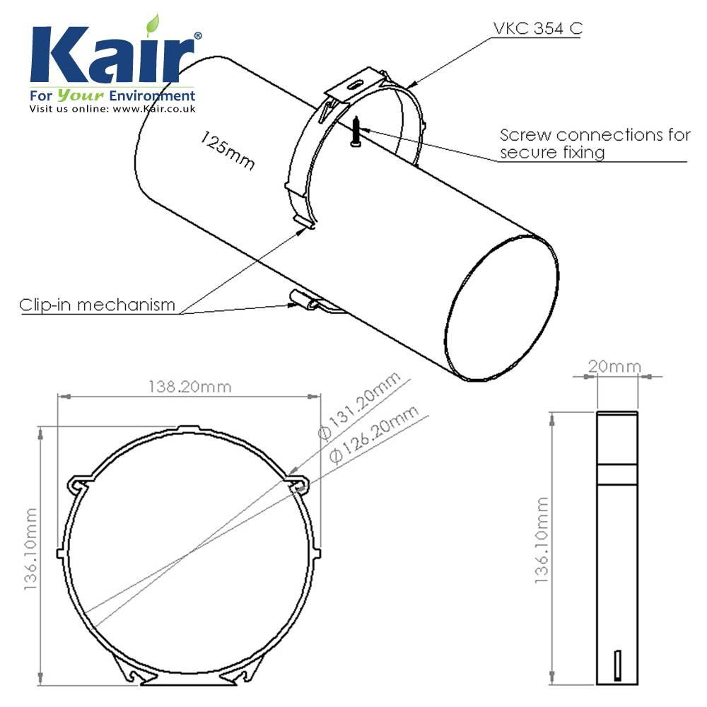 ducvkc304c - 100mm dia round pipe retaining clip
