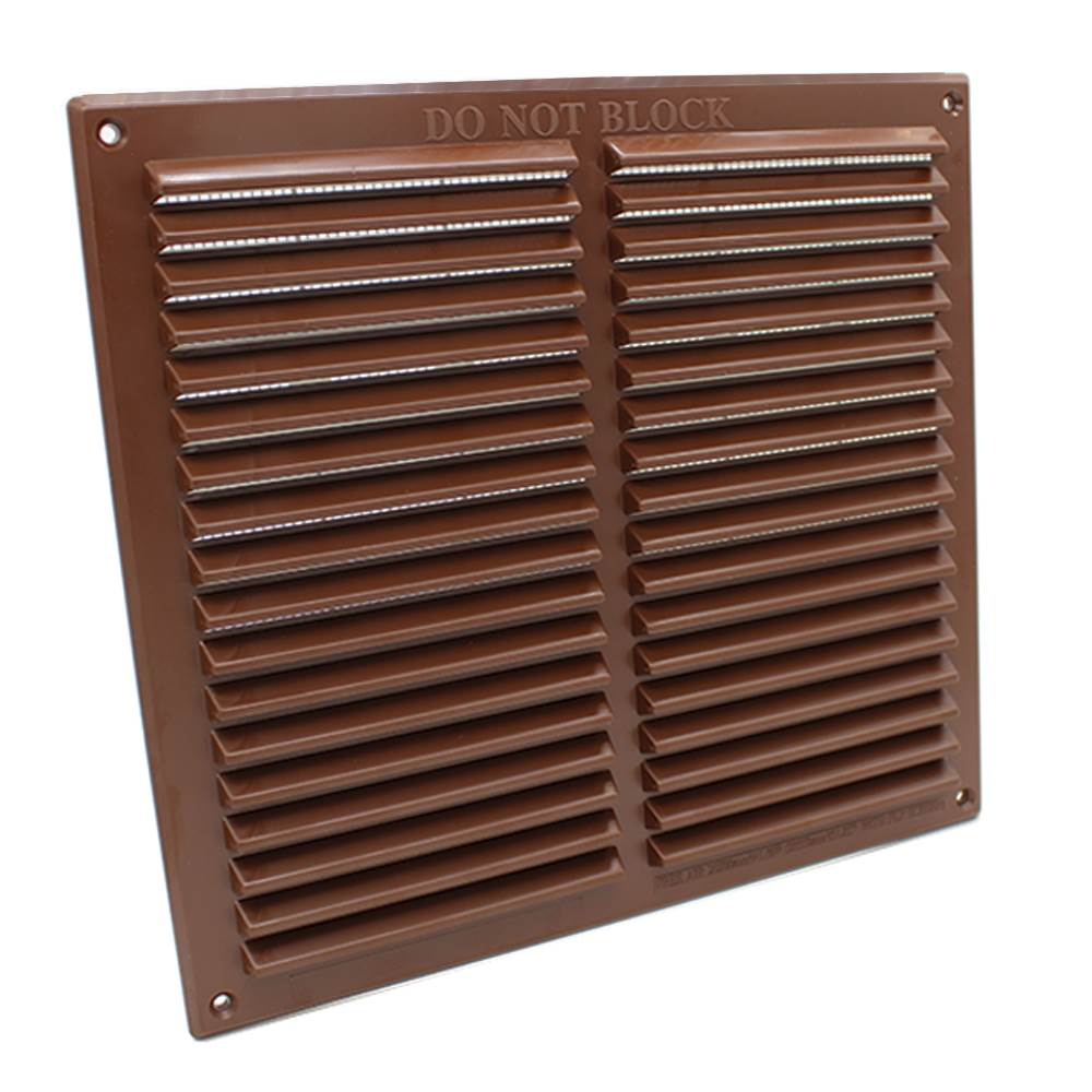 RYTONS 9X9 LOUVRE VENTILATION GRILLE WITH FLYSCREEN - BROWN