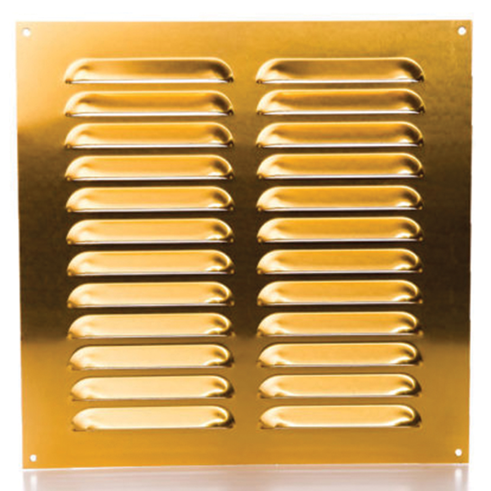 Rytons 9X9 Brass Anodised Aluminium Louvre Vent Grille
