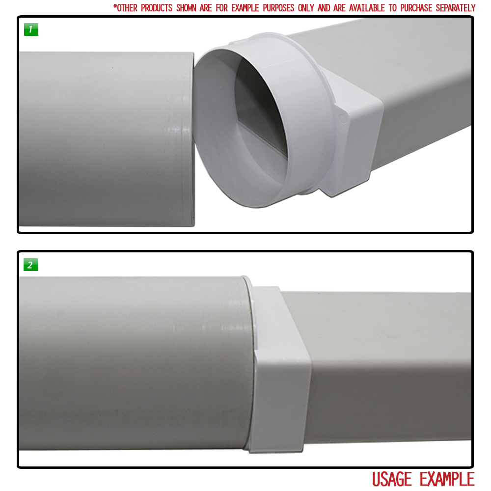 Horizontal Ducting Adapter Round Rectangular 110x54mm fits Extractor Applicati