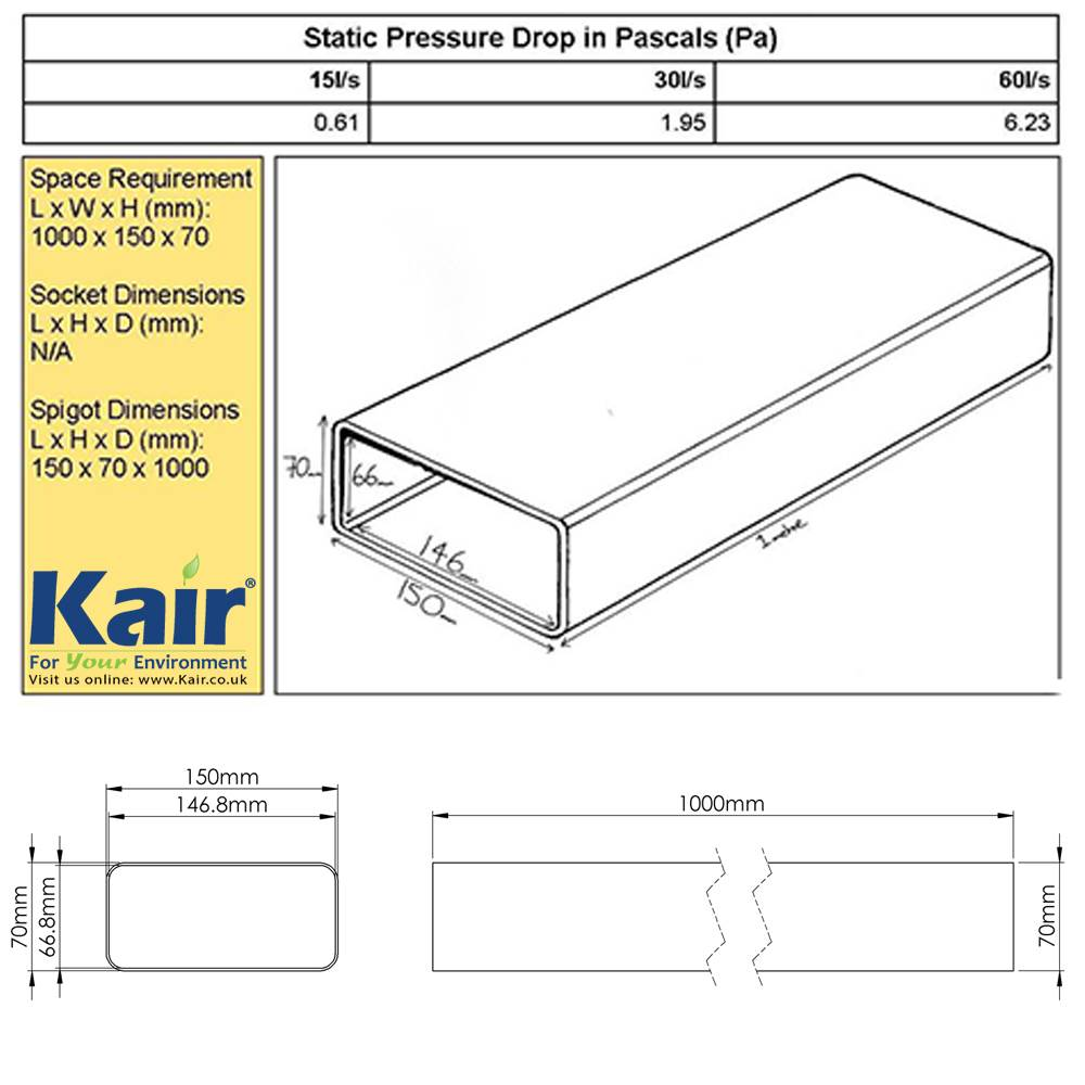 Kair System 150 Flat Channel Ducting 1 Metre 150mm X 70mm Rectangular Duct Booster Fan Wiring Diagram