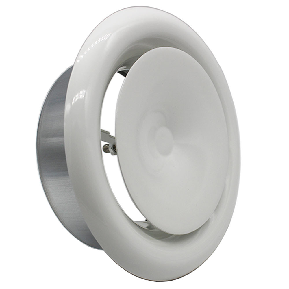 125mm White Coated Metal Ceiling Supply Valve (DUCMW125)