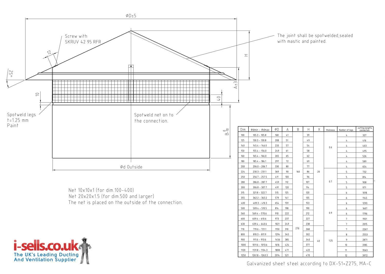 Galv Hu Roof Cowl - 630mm - Steel Galvanised