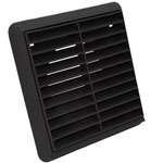 Kair Louvred Grille 100mm - 4 inch Black External Wall Ducting Air Vent with Round Spigot