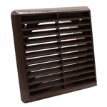 LOUVRED GRILLE 150MM ROUND SPIGOT - BROWN