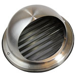 150mm Bull-Nose Vent With Louvres Stainless Steel Ducting Vent / Grille
