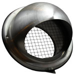 150MM BULL-NOSE VENT WITH WIRE GRILLE STAINLESS STEEL DUCTING VENT / GRILLE