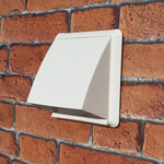 Kair Cowled Outlet Grille 125mm - 5 inch White External Wall Vent With Round Spigot and Wind Baffle Backdraught Shutter