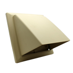 Cowled Wall Outlet With Damper - 150mm - Cream