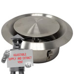 Kair Ceiling Valve 100mm - 4 inch Stainless Steel Adjustable Supply and Extract Vent