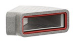 KAIR SELF-SEAL THERMAL 204X60MM HORIZONTAL 45 DEGREE BEND COMPLETE WITH FEMALE CLICK AND LOCK FITTINGS
