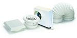 Domus Dvf Centrifugal In-Line Shower 100mm Timer With Duct Kit Fan White
