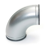Metal Ducting 90 Degree Pressed Bend with Rubber Seal - 100mm