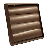 Kair Gravity Grille 150mm 6 inch Brown External Ducting Air Vent with Round Spigot and Not-Return Shutters