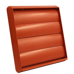 Kair Gravity Grille 150mm - 6 inch Terracotta External Ducting Air Vent with Round Spigot and Not-Return Shutters