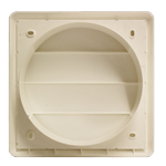 Kair Gravity Grille 150mm - 6 inch White External Ducting Air Vent with Round Spigot and Not-Return Shutters