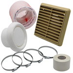 Kair Flexible 100mm In Line Fan Ducting Kit With Beige Louvred Outlet
