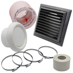 Kair Flexible 100mm In Line Fan Ducting Kit With Black Louvred Outlet