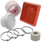 KAIR FLEXIBLE 100MM IN LINE FAN DUCTING KIT WITH TERRACOTTA LOUVRED OUTLET