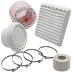 KAIR FLEXIBLE 100MM IN LINE FAN DUCTING KIT WITH WHITE LOUVRED OUTLET