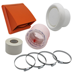 Kair Flexible 100mm In Line Fan Ducting Kit With Terracotta Cowled Outlet