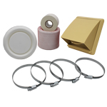 KAIR FLEXIBLE 125MM IN LINE FAN DUCTING KIT WITH BEIGE COWLED OUTLET