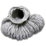 UNINSULATED VINYL FLEXIBLE DUCTING - 6M - 150MM
