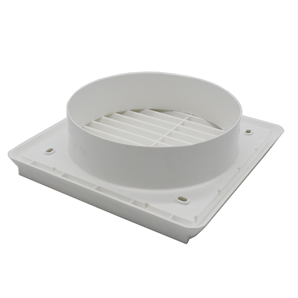 Kair Louvred Grille 150mm - 6 inch White External Wall Ducting Air Vent with Round Spigot