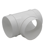Kair Round Equal T-Piece 100mm - 4 inch Plastic Ducting Tee Junction Connector