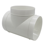 150mm Round Equal T Piece - Plastic Ducting - White
