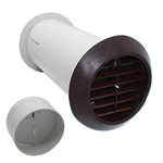 QUICK FIT DELUXE WALL KIT WITH SHUTTER - BROWN - FITS ALL 100MM EXTRACTOR FANS