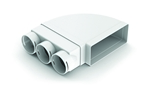 DOMUS ADAPT 220X90MM HORIZONTAL 90 DEGREE  BEND WITH 3X75MM RADIAL SOCKETS