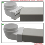 Kair Elbow Bend Adaptor 110mm x 54mm to 100mm - 4 inch Rectangular to Round 90 Degree Bend  - Male