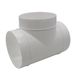 Kair Round Equal T-Piece 125mm - 5 inch Plastic Ducting Tee Junction Connector