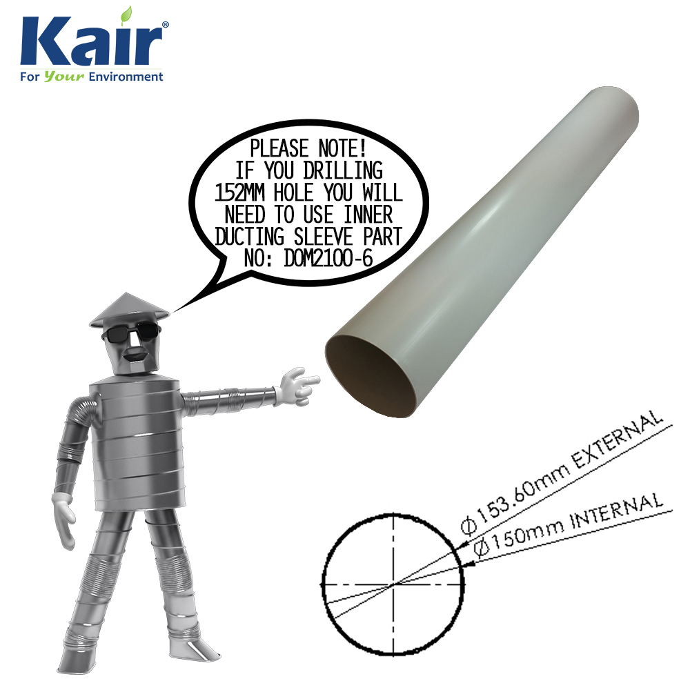 Kair Plastic Ducting Pipe 150mm - 6 inch / 1 Metre Long Length - Rigid Straight Duct Channel
