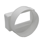 Kair Ducting Straight Adaptor 110mm x 54mm to 100mm - 4 inch Rectangular to Round - Female