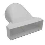 Kair System 204 Rectangular - 204x60mm to Round 125mm Reducer / Adaptor - Plastic Ducting