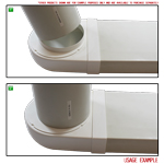 Kair Rotating Elbow Bend Adaptor 204mm x 60mm to 150mm - 6 inch Rectangular to Round 90 Degree Bend