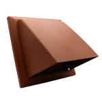 Cowled Wall Outlet With Damper - 150mm - Terracotta