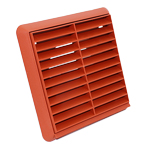 Kair Louvred Grille 100mm - 4 inch Terracotta External Wall Ducting Air Vent with Round Spigot